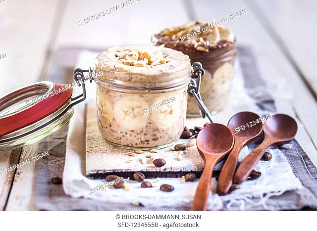 Coffee and chocolate chia pudding with bananas, almonds and sunflower seeds