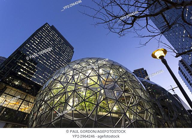 Seattle, Washington: The Amazon Spheres under construction at the Amazon Urban Campus in the Belltown neighborhood. The geodesic structures