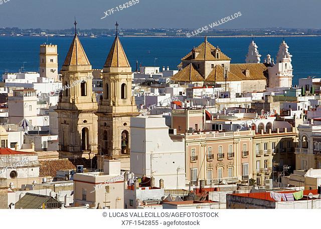 Skyline,San Antonio church and Carmen church,Cádiz, Andalusia, Spain