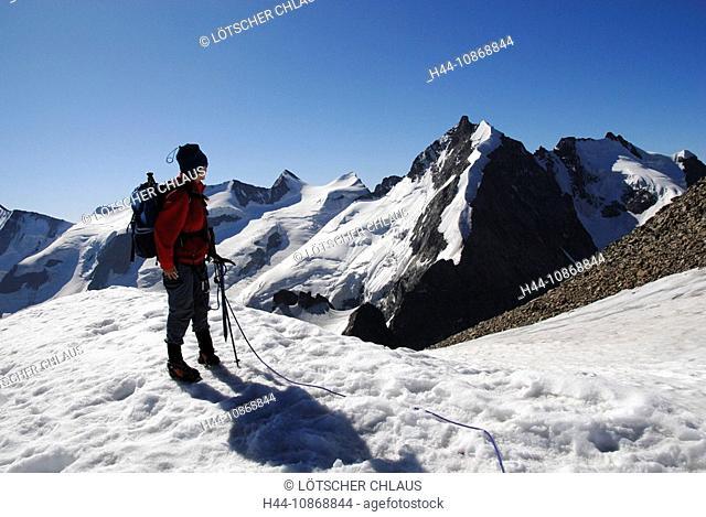 Switzerland, Graubünden, Grisons, Piz Morteratsch, 3751 ms, summits, peaks, mountaineers, Piz Bernina, 4048 ms, Engadin, mountains, Alp, alpine, Alps, snow