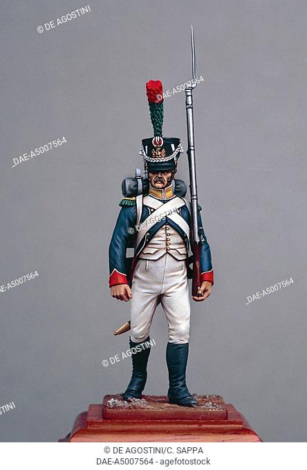 Voltigeur of the Imperial guard, 1810, 5.4 cm, toy soldier from the Napoleonic era, made by Bruno Leibovitz, Metal Modeles series