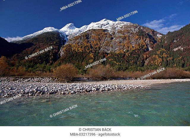 The Isar with Grosse Ahrnspitze, Mittenwald, Bavaria, Germany