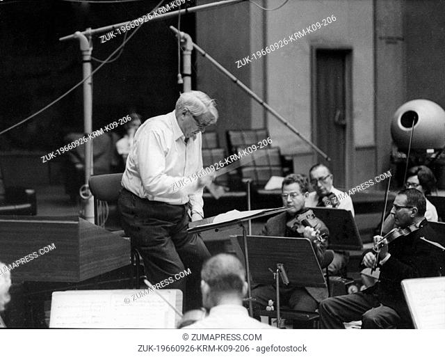 Sep. 9, 1966 - Paris, France - CHARLES MUNCH directs rehearsal Paris Radio House for his 75th Birthday concert.(Credit Image: © Keystone Press Agency/Keystone...