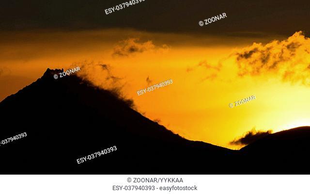 Sunrise Over volcanoes of Kamchatka Peninsula