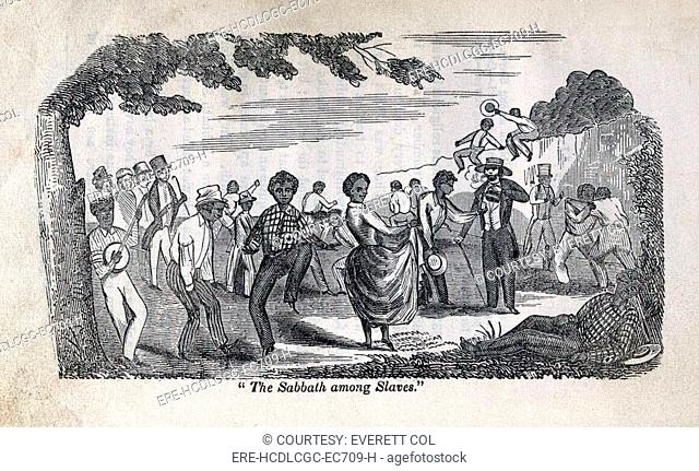 The celebration of the Sabbath among slaves. Illustration showing Afro-American dancing, playing banjo, and resting
