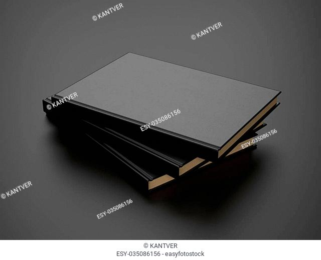 book with black blank cover on the table