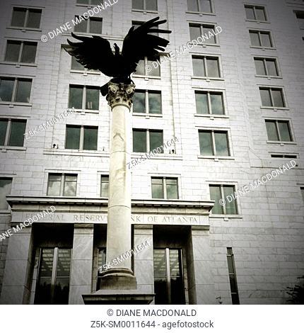 Eagle on pillar outside the Federal Reserve building in Atlanta, Georgia
