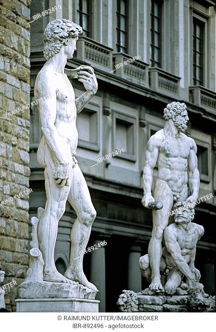 Statue of David by Michelangelo Buonarroti, Statue of Hercules and Cacus, Florence, Firenze, Tuscany, Italy, Europe