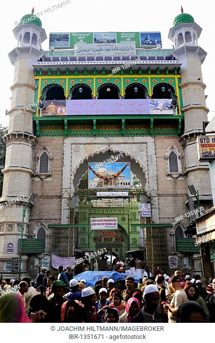 Front side and entrance to the Dargah Sharif, Holy Dargah, Mosque complex with the grave of Khwaja Muinud-din Chishti, a Muslim Sufi saint