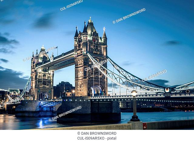 View of tower bridge at dusk, London, England, UK