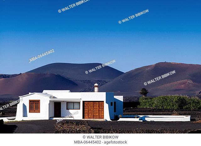 Spain, Canary Islands, Lanzarote, La Geria wine region, Uga, house among black volcanic soil vineyards