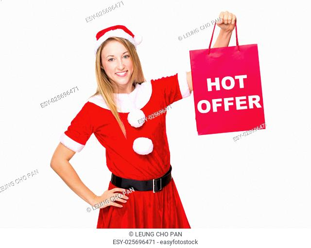 Xmas girl hold shopping bag with hot offer