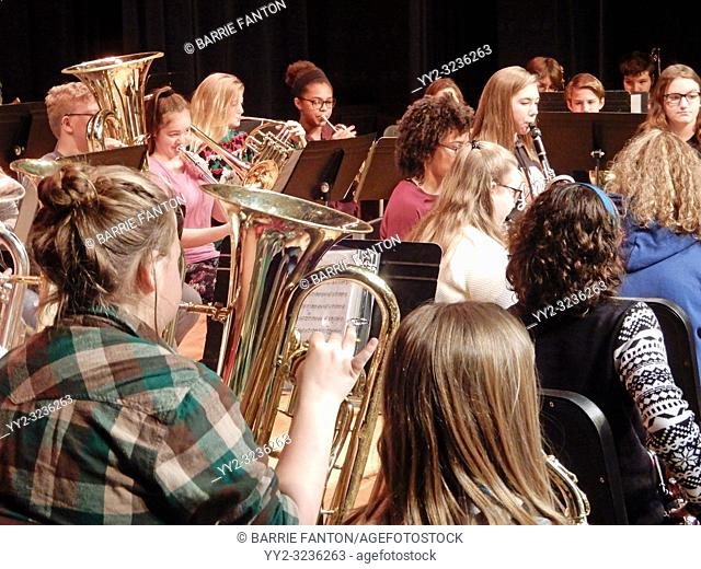 Middle Schoolers Playing in Band, Wellsville, New York, USA