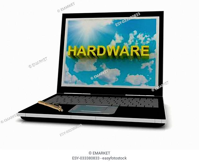 HARDWARE sign on laptop screen of the yellow letters on a background of sky, sun and clouds
