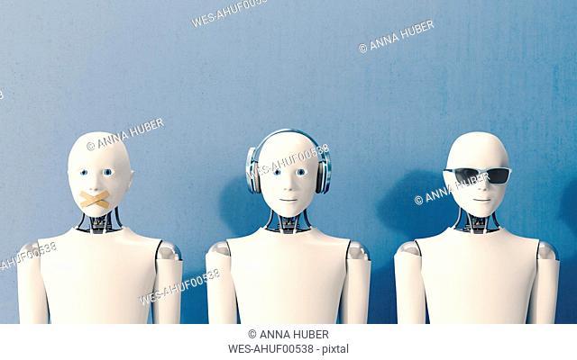 3D Rendering, Robots speaking no evil, hearing no evil, seeing no evil