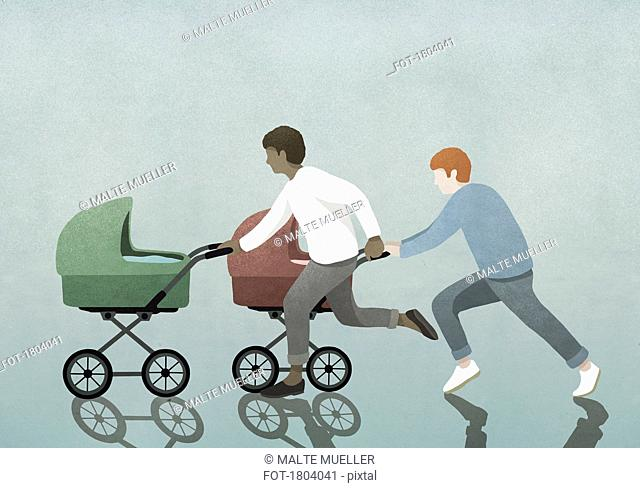 Fathers racing baby strollers