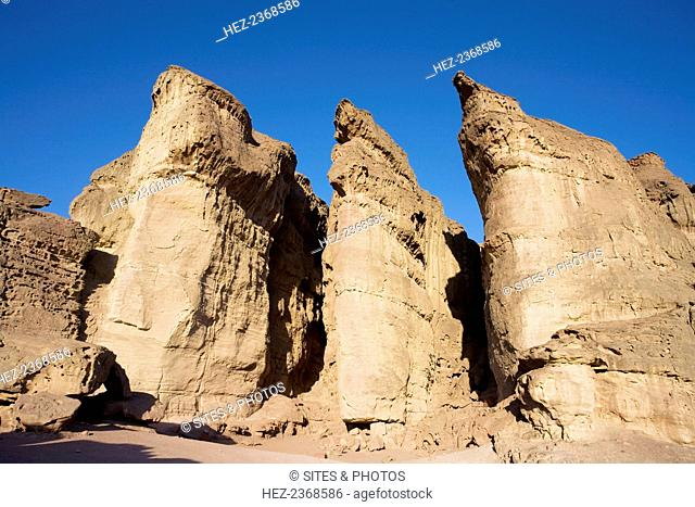 King Solomon's Pillars, Timna Valley Park, Israel. The most striking and well-known formation in Timna Valley is Solomon's Pillars