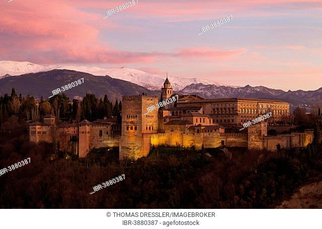 Alhambra palace, illuminated at dusk, the snow-capped Sierra Nevada Granada at the back, Granada province, Andalusia, Spain