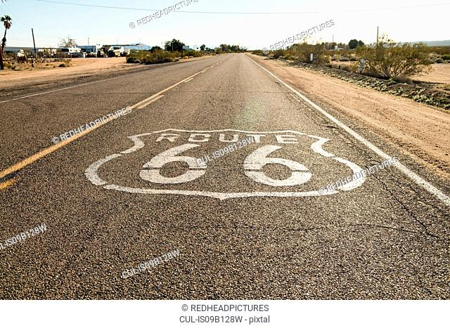 Route 66 road mark, California, USA
