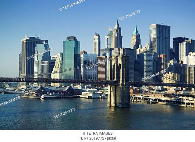Lower Manhattan skyline New York NY