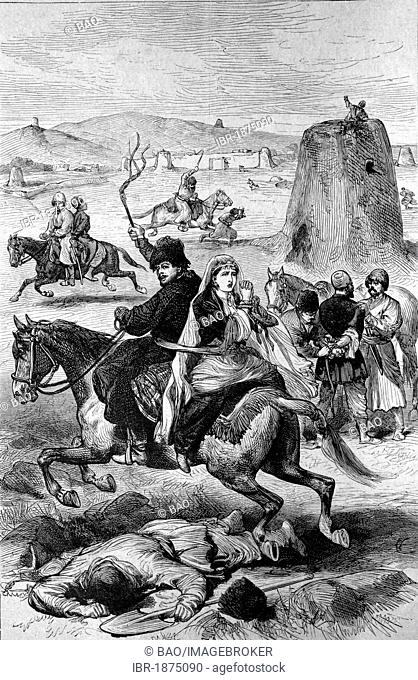 Turkmen kidnappers attacking Persian residents near the border, historical illlustration, about 1886