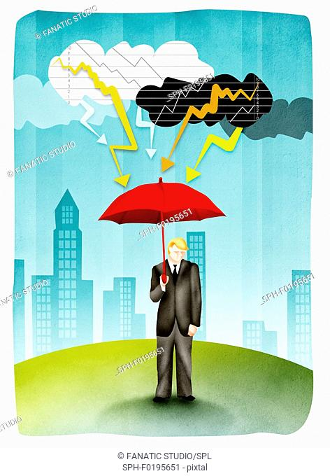 Man holding umbrella in storm, illustration