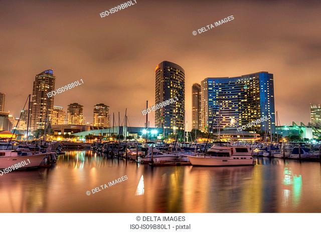 San Diego Marina and Skyline at dusk, California, USA