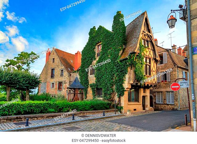 Beautiful typical traditional french fairytale ancient house overgrown with ivy in the streets of Nevers, France