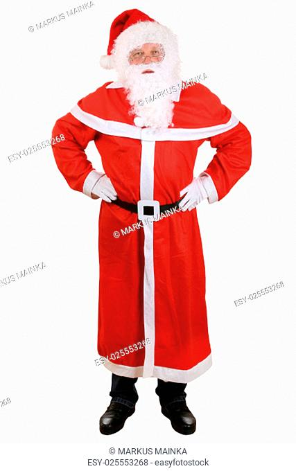 santa claus with hat and beard on christmas full exempted against a white background