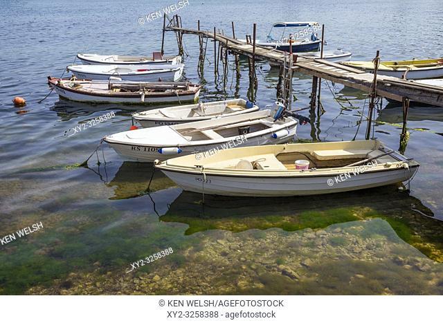 Jetty with moored boats. Porec, Istria County, Croatia
