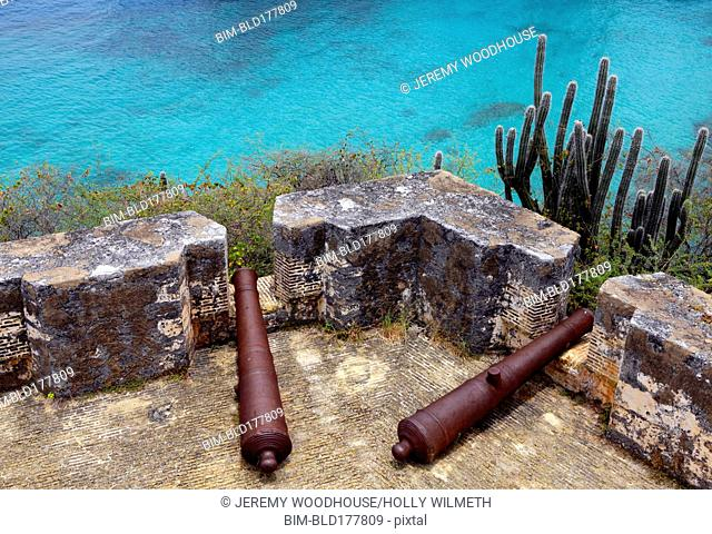 High angle view of cannons on Rif Fort ruins, Otrabanda, Curacao