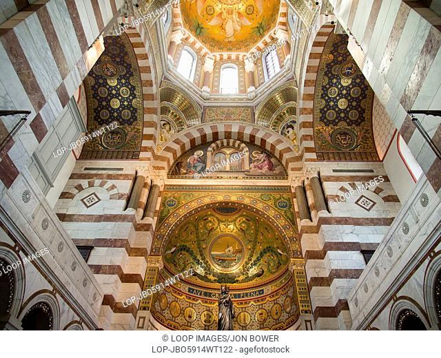 The interior of Notre-Dame de la Garde above Marseilles