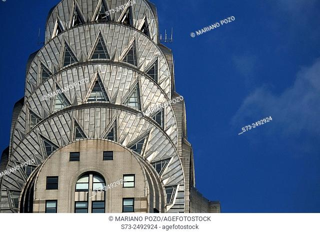 Chrysler Building. Detail of the stainless steel roof, Manhattan, New York