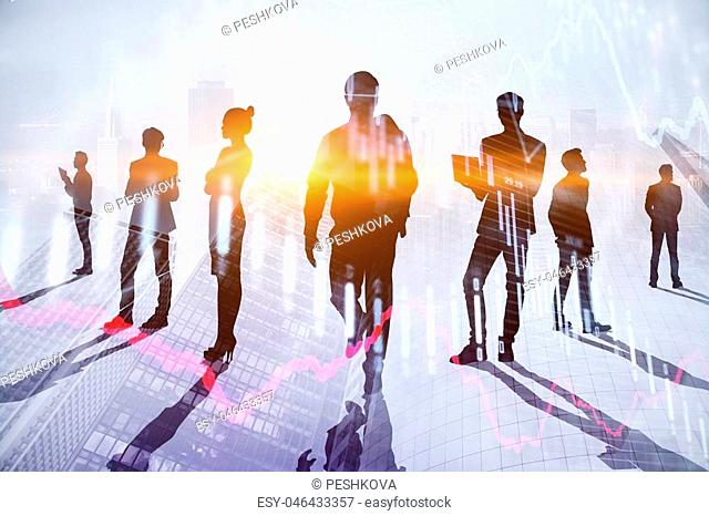 Teamwork, meeting and finance concept. Businesspeople crowd silhouettes on light city office background. Double exposure
