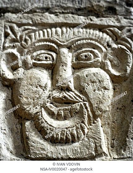 Bas relief in Romanesque church of St. Philibert early 11th century, Tournus, Burgundy, France
