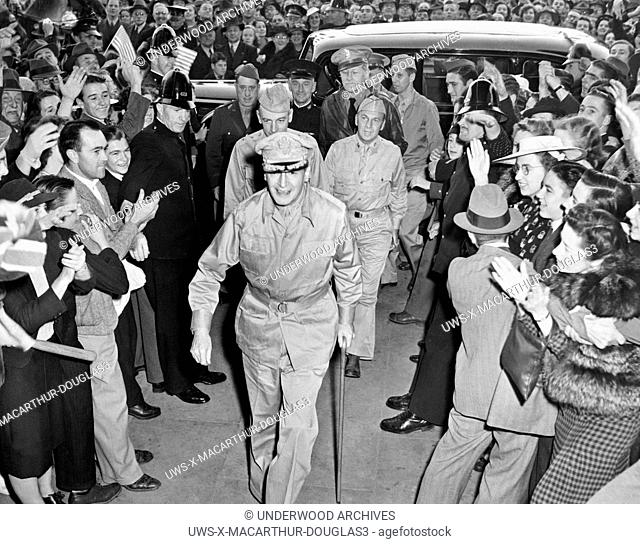 Melbourne, Australia: March, 1942.General Douglas MacArthur as he arrived in Melbourne after his dash through the Japanese blockade from Bataan