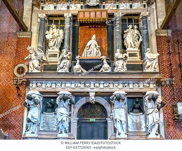 Santa Maria Gloriosa de Frari Church Monument to Doge Giovanni Pesaro, Venetian ruler, San Polo Venice Italy. Church completed mid 1400s. Tomb