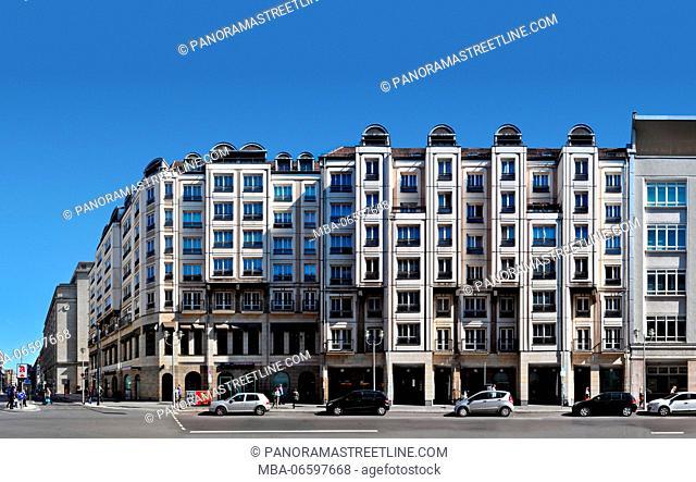 Germany, Berlin, Friedrichstrasse in linear depiction, streetline multi-perspective photography