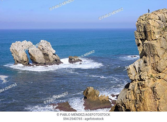 The Urros or Small islands in Liencres, Cantabria, Spain