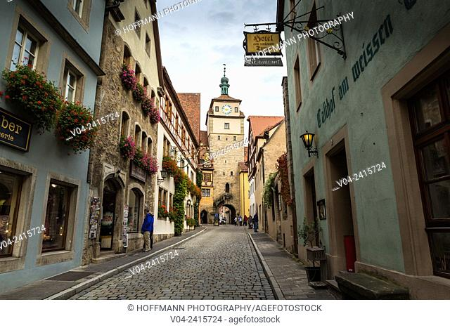The historic White Tower and timbered houses in Rothenburg ob der Tauber, Bavaria, Germany, Europe