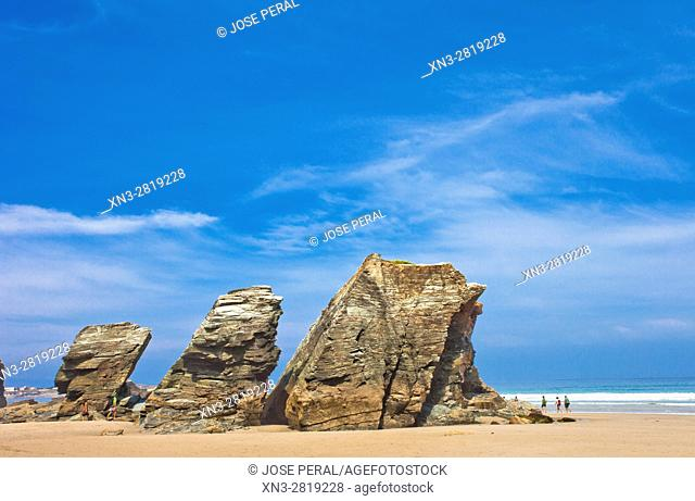 Beach of the Cathedrals, Playa de Las Catedrales, Beach of the Holy Waters, Playa de Aguas Santas, Cantabric coast, Ribadeo, Lugo province, Galicia, Spain