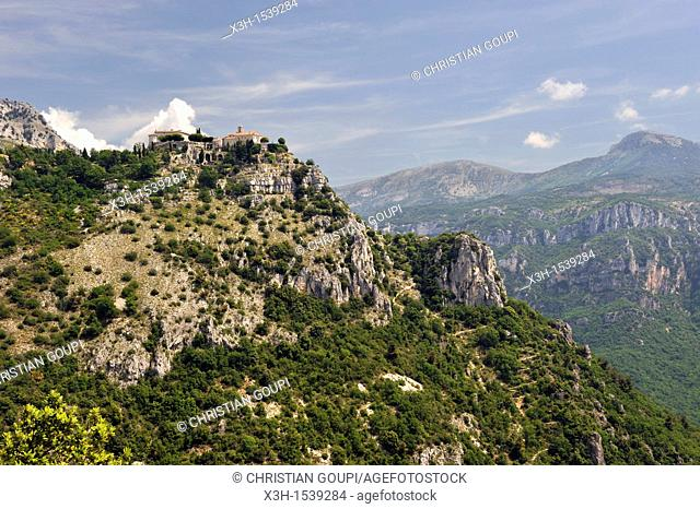 perched village of Gourdon overhanging the Loup River valley, Alpes-Maritimes department, Provence-Alpes-Cote d'Azur region, southeast of France, Europe