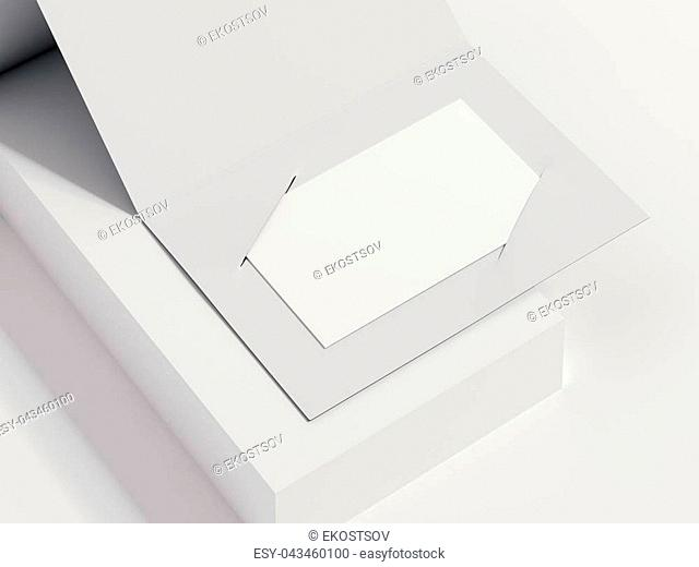 Opened leaflet with business card inside. 3d rendering