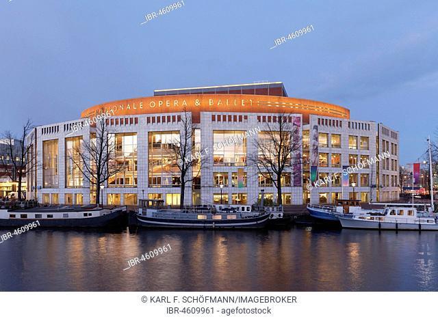 Stopera, De Nationale Opera & Ballet, Dutch Opera and civic hall an der Amstel, Dawn, Amsterdam, Holland, Netherlands