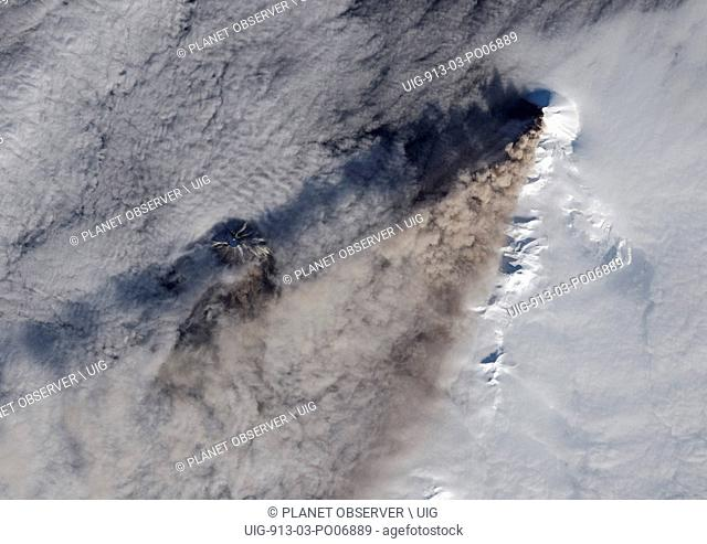 Satellite view of Chikurachki Volcano that erupted on February 17, 2015. The volcano is located in the Kuril Islands in Russia