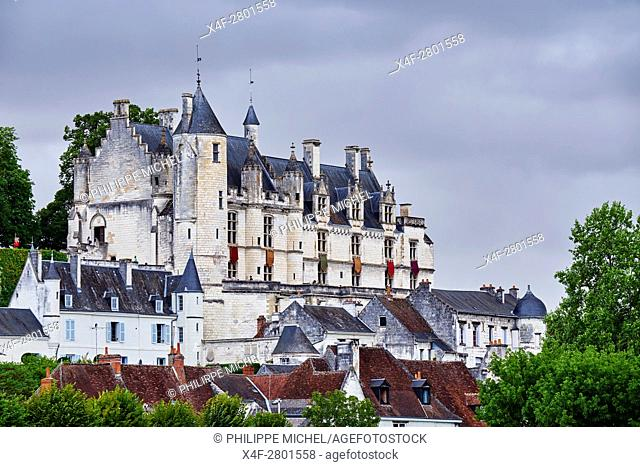 France, Indre-et-Loire (37), Loches, la cité médiévale, le Logis Royal et le chateau / France, Indre-et-Loire (37), Loches, Royal castle and dwelling