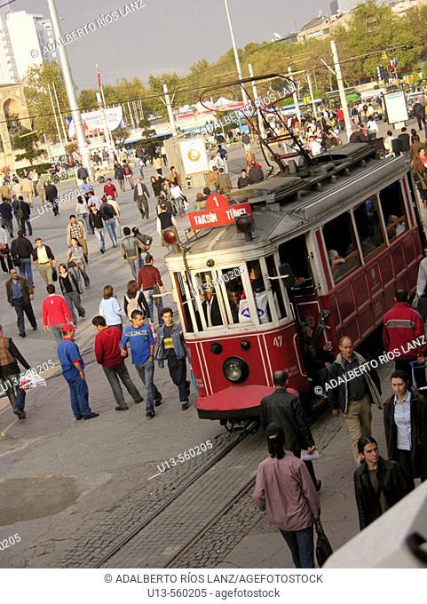 Tram Taksim Square Downtown Modern Istanbul Turkey