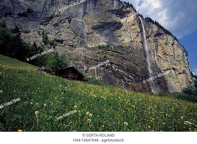 Switzerland, Europe, Canton Bern, Bernese Oberland, Staubbach fall, Lauterbrunnen valley, waterfall, cliff, cliffs, ro