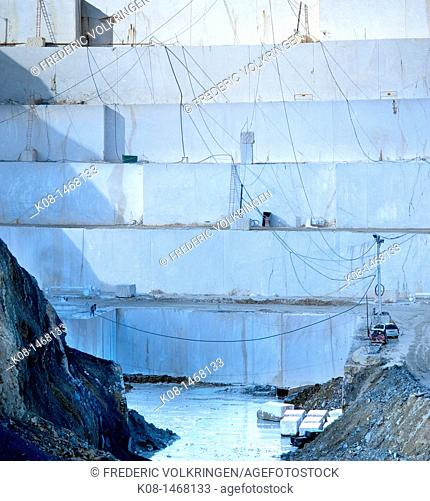 Marble quarry, marble block, white marble, Spain