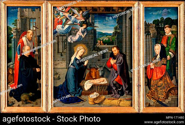 The Nativity with Donors and Saints Jerome and Leonard. Artist: Gerard David (Netherlandish, Oudewater ca. 1455-1523 Bruges); Date: ca